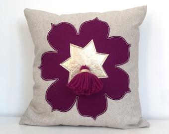 Moroccan Flower Tassel Pillow in Plum Wool Felt + Oatmeal Linen