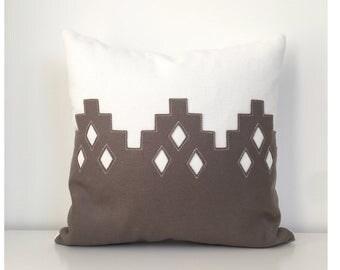 Moroccan Diamond Pillow in Cement Gray Felt + Creamy White Twill