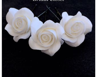 Bridal Hair Pins, SET Of 3 Hair Pins With Roses, Wedding Hair Pins, Bridal Hair Accessory, Wedding Accessory, Bridal Hairpiece, Wedding Hair