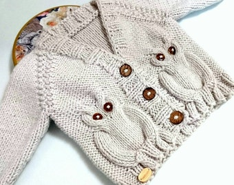 Owl Baby sweater, newborn boy coming home outfit, baby clothes unisex, gender neutral, toddler sweater, baby cardigan, baby owl, toddler boy