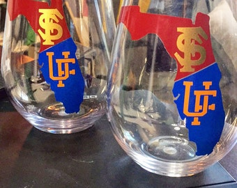 House divided wine glass uf/fsu can be done with any school gators noles listing is for ONE glass