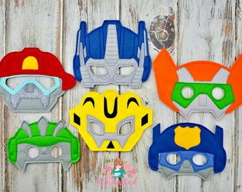 Rescue bots inspired mask, rescue bot birthday party, transformer birthday party, rescue bot photo booth props, dress up fun