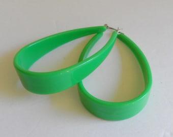 Bright Leaf Green Hoop Earrings Vintage 70's Large Mod