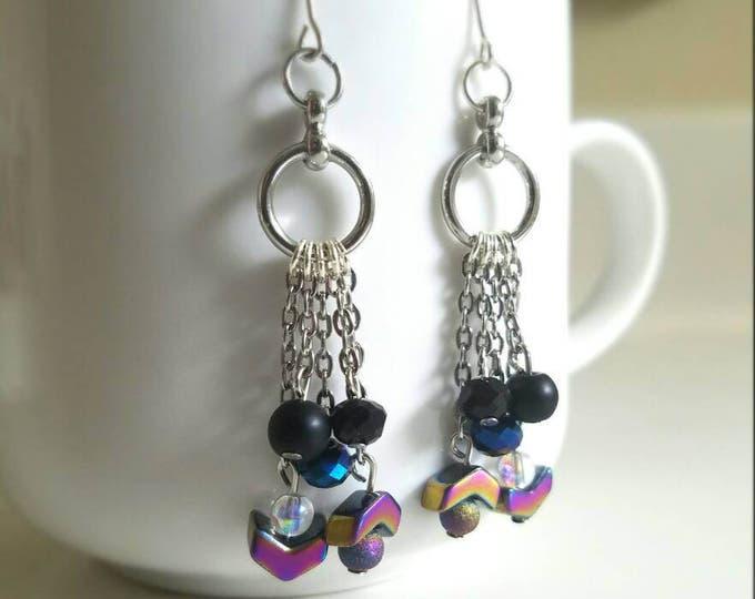 Black Multi Colored Arrow Dangle Round Toggle Earrings