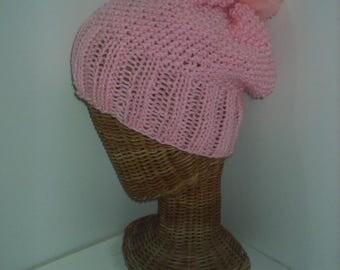 handmade pink beanie slouchy hat