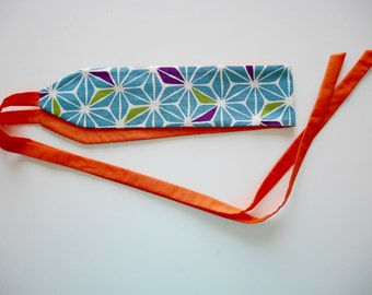 Japanese fabric obi belt pattern asanoha multicolored chart links orange ekice