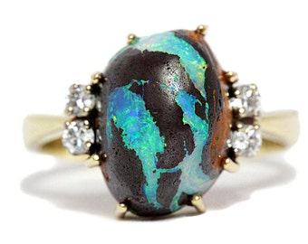 Boulder Opal Ring 14K Gold Diamond Lightning Rich