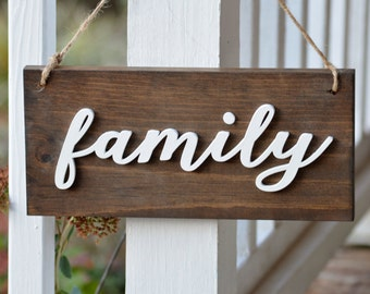Farmhouse Family Sign, Rustic Home Signs, Stained Country Wall Hanging, Wood Sign, Fifth Anniversary Gift