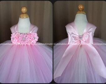 Flower girl /princess tutu dress pink and ivory flower mix