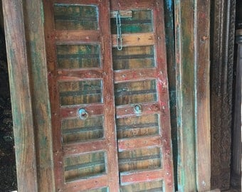 Antique HAVELI Doors Hand Carved Blue Patina Reclaimed Teak Doors & Solid Frame Old World Mediterranean Shabby Chic Interiors FREE SHIP