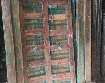 Antique Doors Hand Carved Blue Patina SUNKISSED Teak Doors & Frame Old World FARMHOUSE Shabby Chic Interiors 18C