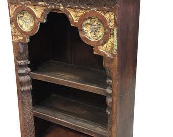 Antique Indian Arch Bookshelf Book Case Bookshelf Arched Frame Teak Patina India Interiors Design