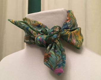 Gorgeous Rainbow Swirled-Paint Patterned Silk Scarf 1970's