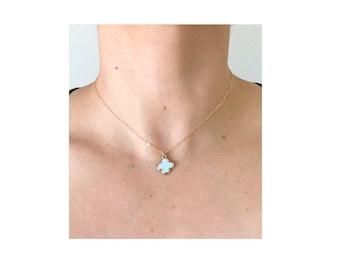 Blue Quatrefoil Necklace