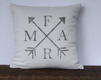 Farmhouse Farm Arrows Pillow Cover, Infinity Arrows, Decorative Pillow Cover, Custom couch pillow, Black or Gray