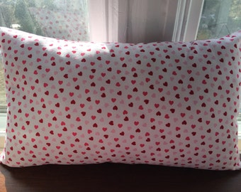 Sale, Valentines Lumbar Pillow Cover, Shades of Pink Hearts Pillow Cover, 12''x20'', Ships Fast