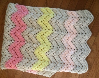 Baby Blanket Knitted Pink Tan Chevron Nursery Shower Gift