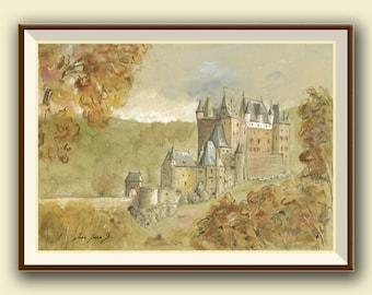 PRINT- Burg Eltz Castle - Germany Castles - Medieval castle art - castle painting watercolor - Art Print by Juan Bosco