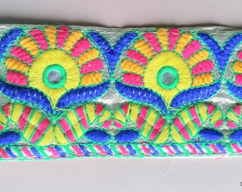 Gold Shimmer Fabric Trim With Yellow, Blue, Orange And Green Embroidery With Mirrors - 200317L208