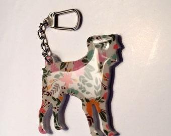 Pug Puppy Dog Bag Zipper Charm Keyring Acrylic/Resin - 6 cm x 5 cm