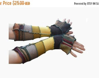 Summer Upcycled Arm Warmers Earth tones All Wool Recycled Reconstructed