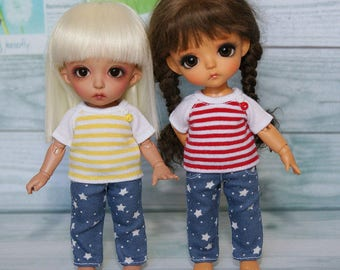 Lati yellow/pukifee outfit - 3 colors set: t-shirt and jeans