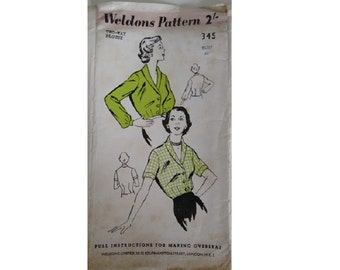 "UNUSED Vintage 40's Weldons 345 Ladies Shirt Blouse Pattern Plus Size UK 20 Bust 40"""