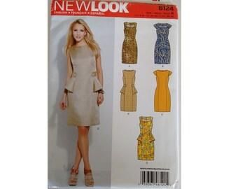 UNCUT New Look 6124 Misses' Dresses Sheath dress with Peplum 5 Options 7 Sizes