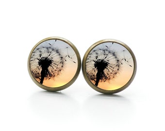 Ear studs 6-12mm dandelion at the sunrise - S10785
