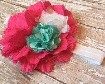 Pink, white and mint baby headband, big hot pink flower, white elastic, mint green small flower, large baby girl headband