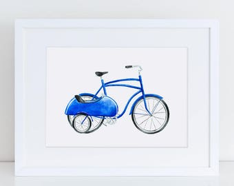 Vintage Blue Bicycle with Sidecar Fine Art Watercolor Print