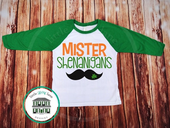 Mister Shenanigans | St. Patrick's Day Shirt | St. Patty's Day Shirt | Raglan Baseball Shirt |  Boys Toddler Shirt | Lucky Shamrock Clover