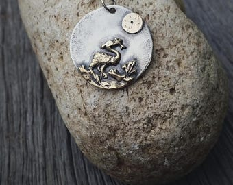 """Limited Edition 9ct Gold & Sterling Silver """"Heron"""" Pendant"""