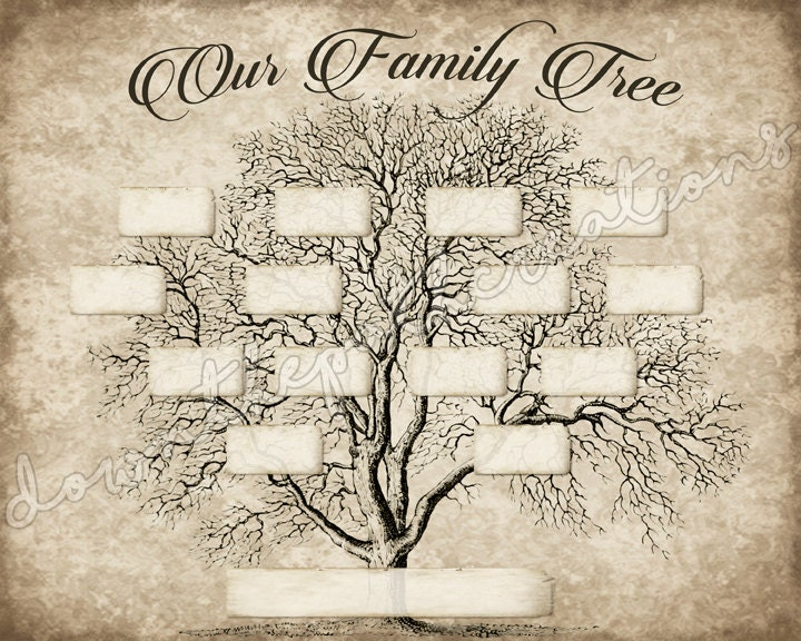 vintage family tree print template instant download