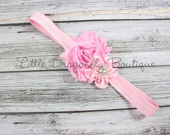 Shabby and satin headband {pink headband, shabby headband, baby headband, toddler headband}