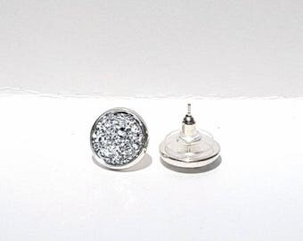 Silver Faux Druzy Post Earrings