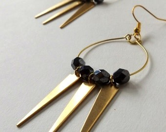 Black and gold spike earrings, boho spike earrings, tribal spike dangle earrings