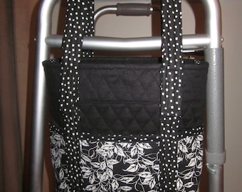 Walker Bag Becomes Handbag in Black and White Leaves and Dots!