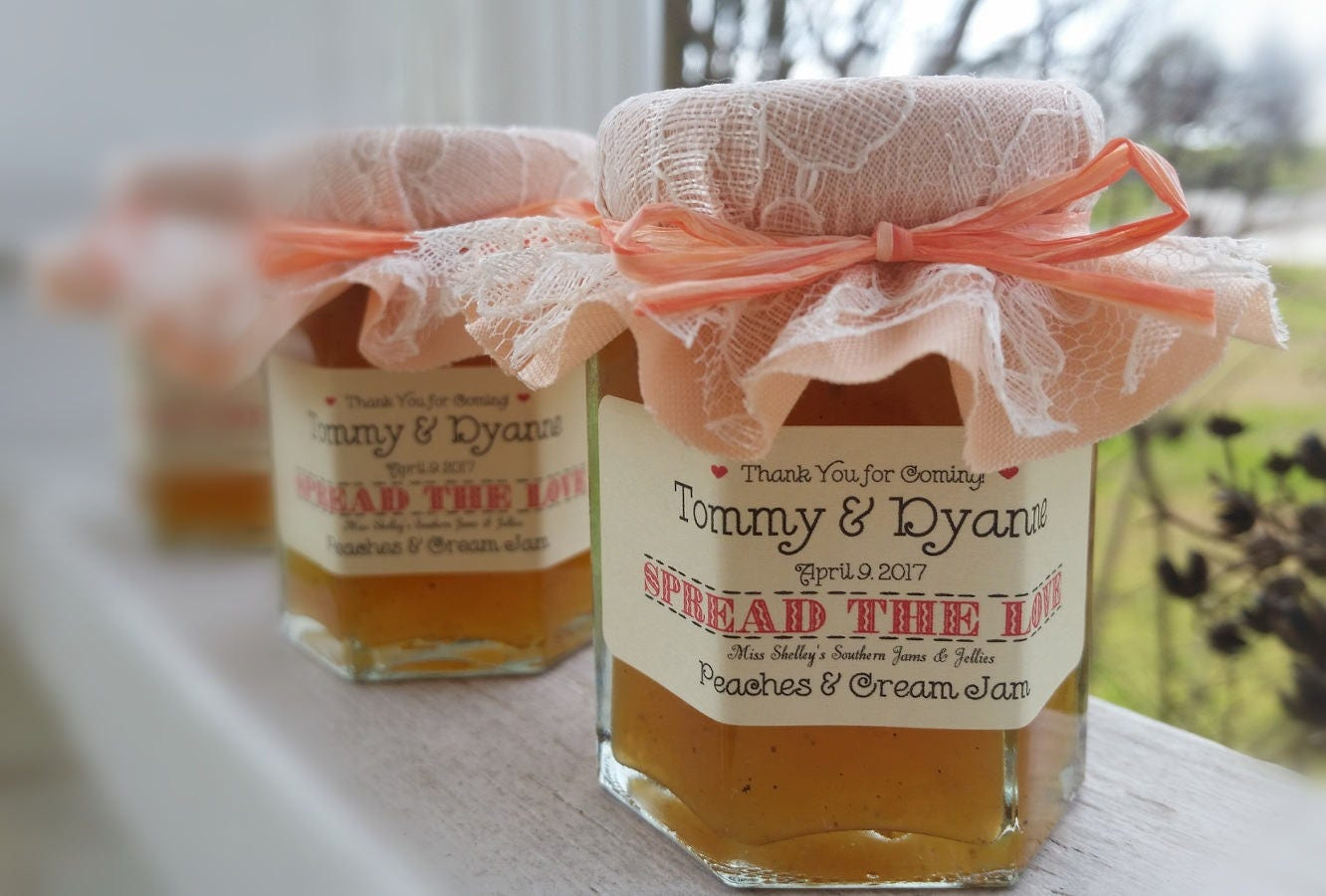Georgia Peach Jam Favors Rustic Wedding Favors Wedding