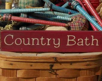 Country Bath painted primitive rustic wood sign