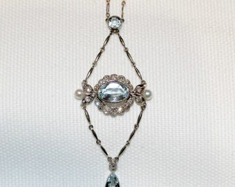 Aquamarine Diamond and Pearl Victorian Necklace