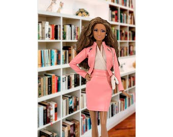 Pink faux-leather jacket for Barbie and Poppy Parker