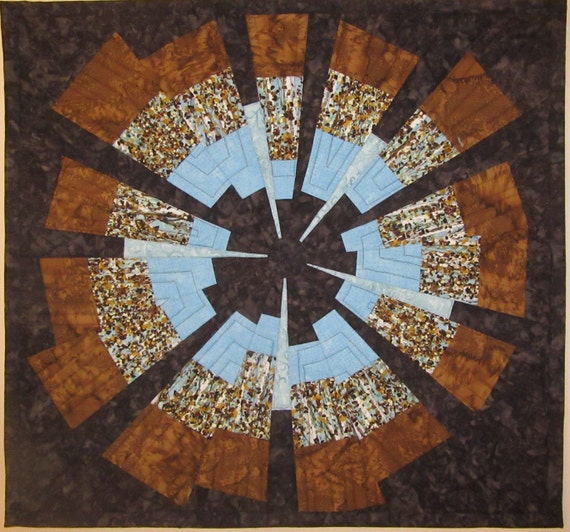 Art Quilt Wonky Blue Brown Star, Wall Hanging