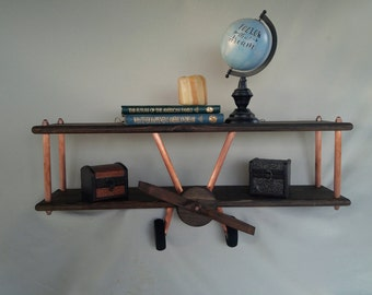 LARGE Dark Stained Copper Airplane Shelf, Custom Airplane Shelf, Wooden Airplane, Airplane Decor, Biplane, Aircraft Decor, Travel Decor