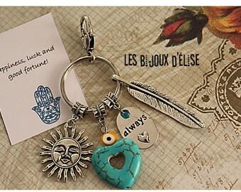 Always In My Heart Keychain Yoga Keychain Boho Purse Jewelry