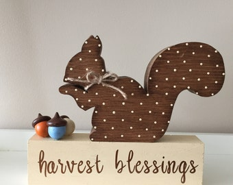 Harvest Blessings, Wooden Squirrel