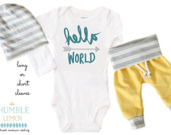 Baby Boy Coming Home Outfit: CHOOSE YOUR COMBO Turquoise Hello World, Yellow, White and Gray Harem Pants and Reversible Slouchy Hat