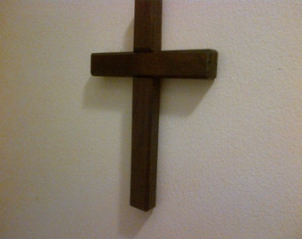 9 Inch Walnut Wood Wall Cross ( Medium ) 9 x 6 Ebony Stained - Solid Walnut Wood