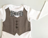 Baby boy clothes, baby bow tie, boys upcycled clothes, baby vest and tie, newborn boy gift, baby wedding outfit, boys bodysuit