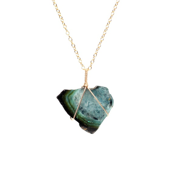 Green tourmaline slice necklace - raw tourmaline necklace - healing crystal necklace - a wire wrapped tourmaline on a 14k gold filled chain